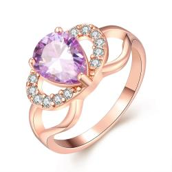 Vienna Jewelry Gold Plated Purple Citrine Love Knot Ring - Thumbnail 0