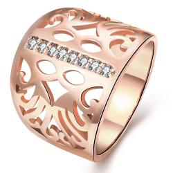 Vienna Jewelry Gold Plated Laser Cut Thick Round Ring - Thumbnail 0