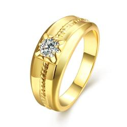 Vienna Jewelry Gold Plated Petite Floral Crystal Ring - Thumbnail 0