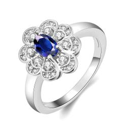 Vienna Jewelry Gold Plated Clover Design with Petite Gem Ring - Thumbnail 0