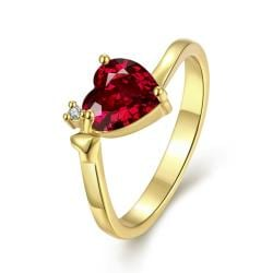 Vienna Jewelry Gold Plated Heart Shaped Gemstone Ring - Thumbnail 0