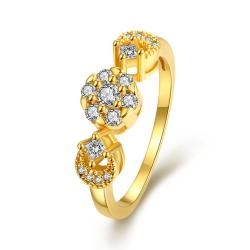 Vienna Jewelry Gold Plated Swirl Ring with Pave' Crystal Ring - Thumbnail 0