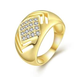 Vienna Jewelry Gold Plated Diamond Shaped with Crystal Jewels Ring - Thumbnail 0