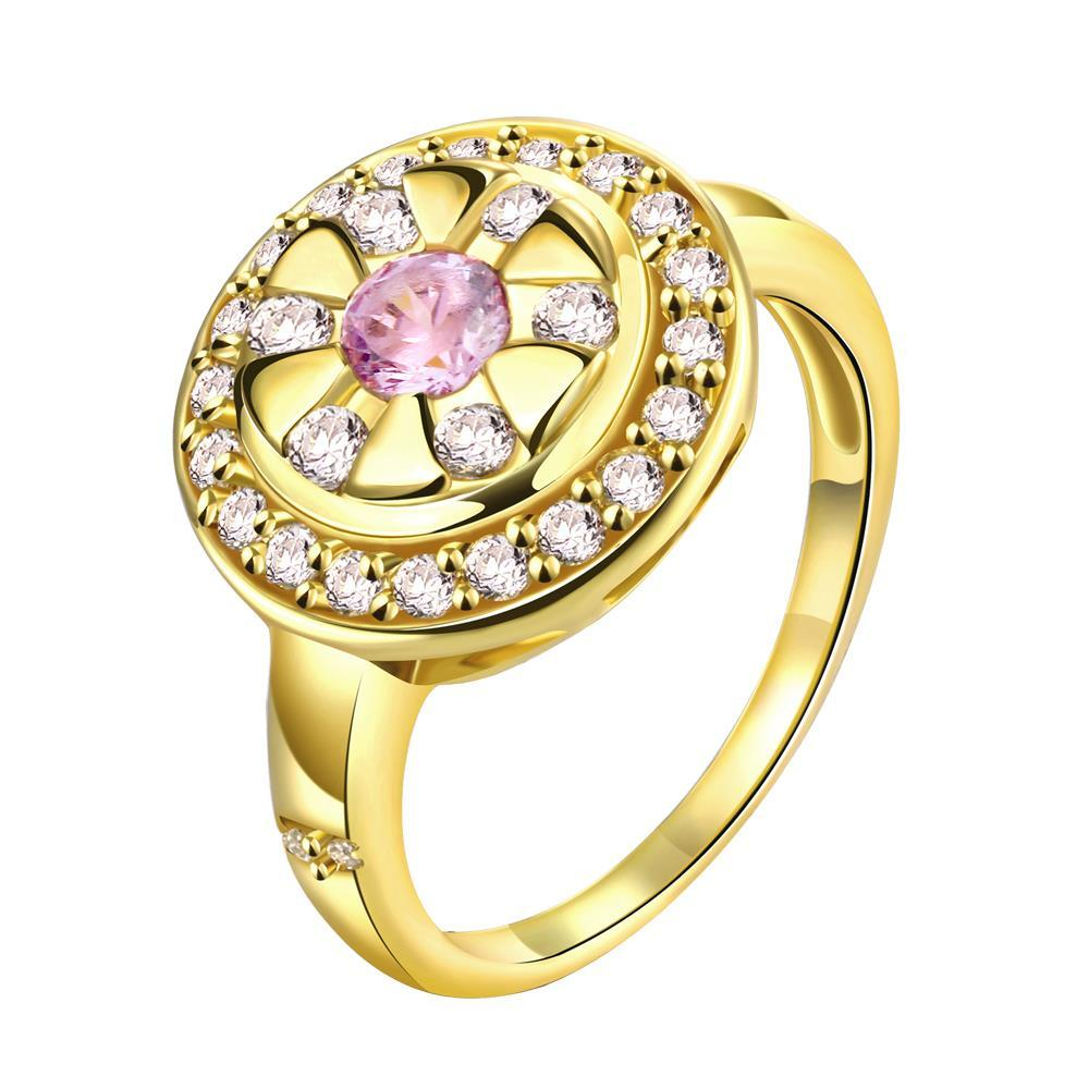 Vienna Jewelry Gold Plated Pink Ruby Gemstone Ring