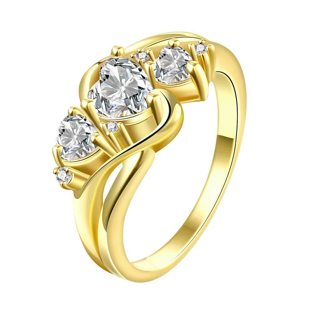 Vienna Jewelry Gold Plated Trio-Crystal Hearts Ring
