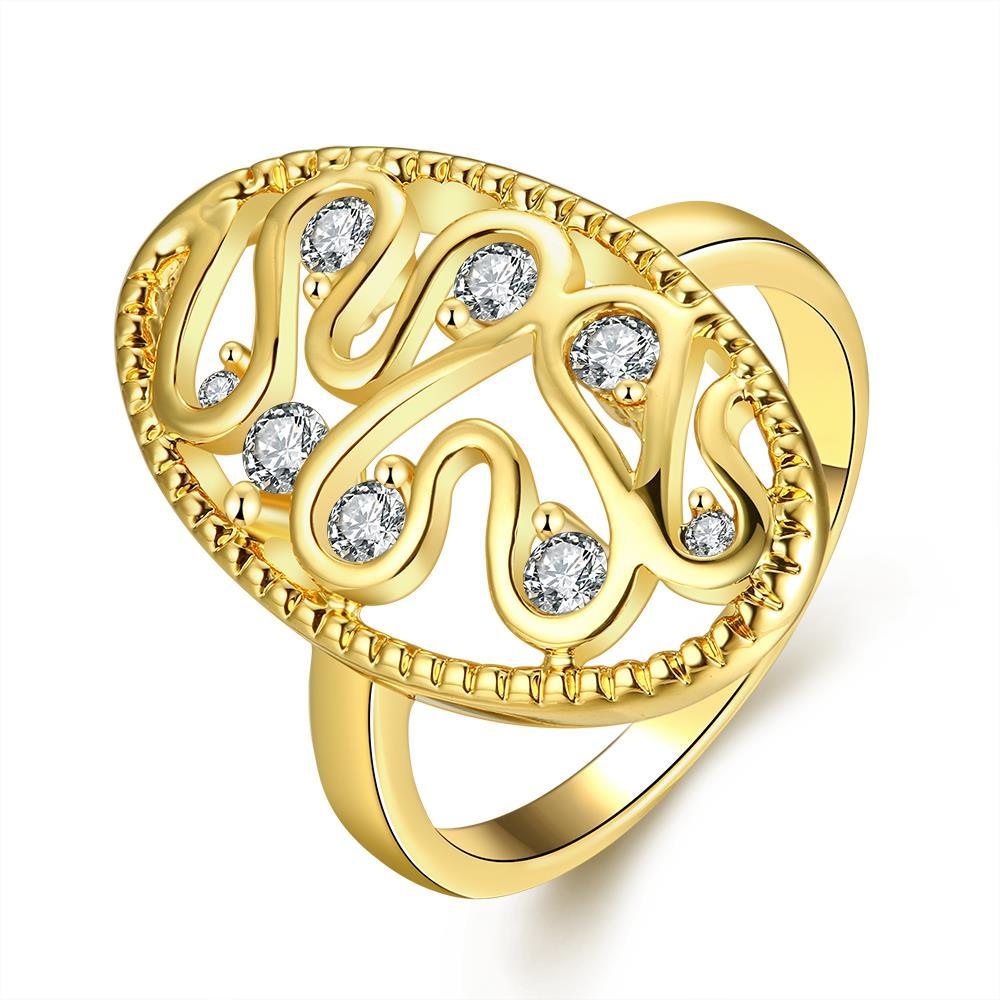 Vienna Jewelry Gold Plated Oval Shaped with Crystal Jewels Ring