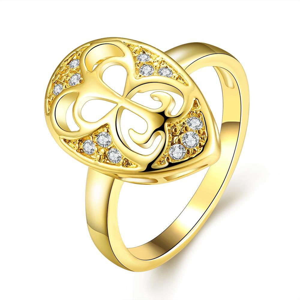 Vienna Jewelry Gold Plated Laser Cut Hollow Circular Ring