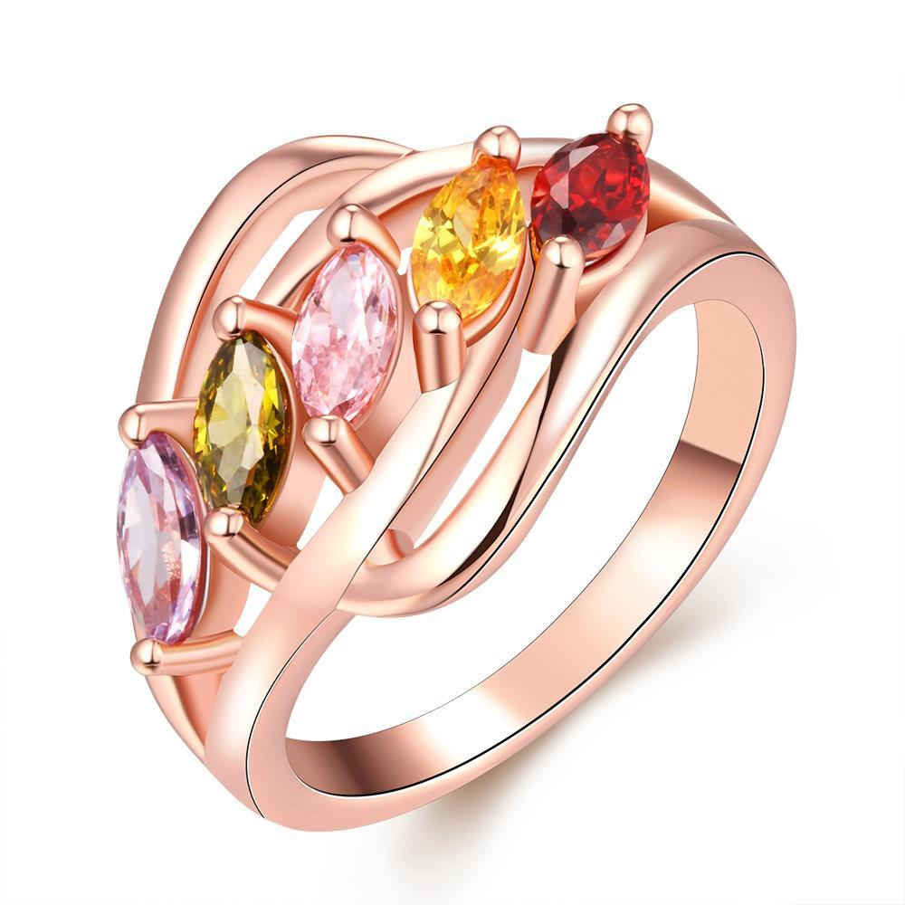 Vienna Jewelry Gold Plated Line of Colored Jewels Ring