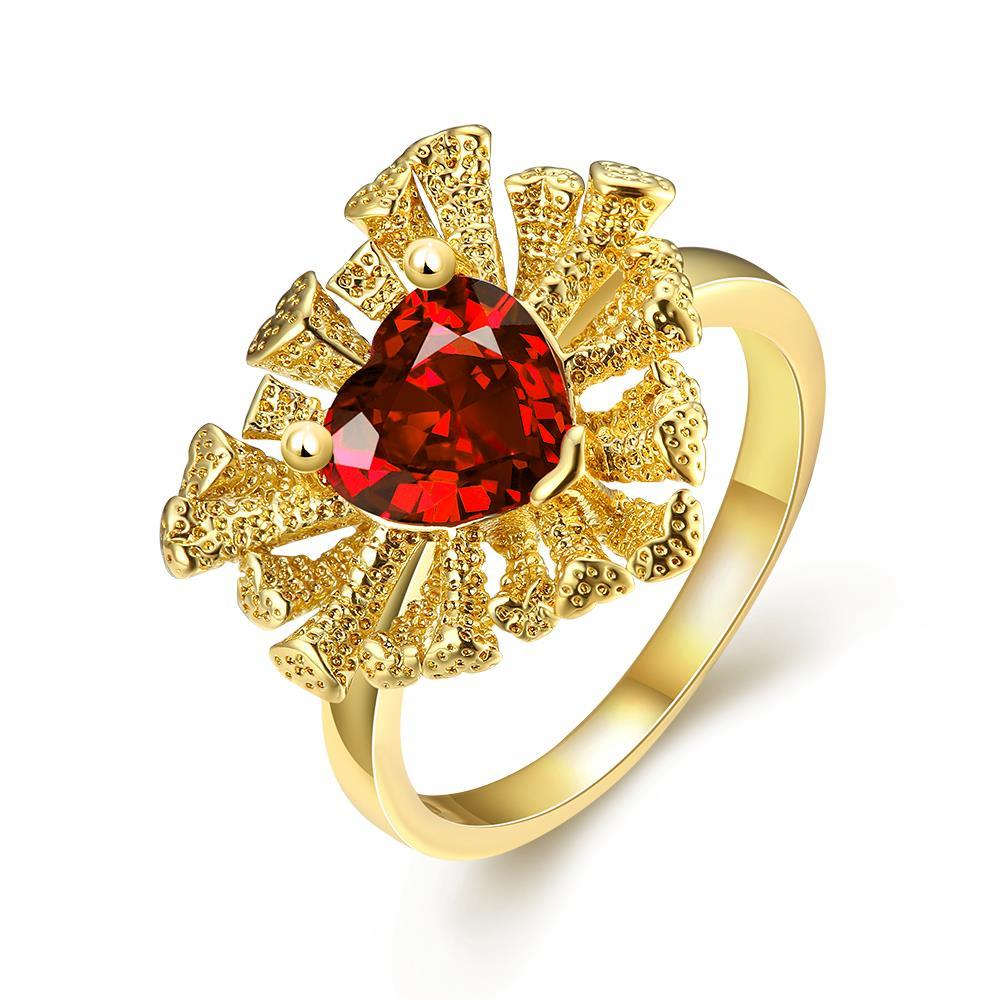 Vienna Jewelry Gold Plated Floral Petal with Gem Ring