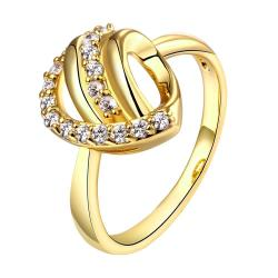 Vienna Jewelry Gold Plated Double Knot Crystal Ring - Thumbnail 0
