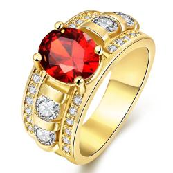 Vienna Jewelry Gold Plated A King's Crown Gemstone Ring - Thumbnail 0