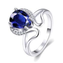 Vienna Jewelry Gold Plated Swirl Design Gemstone Ring - Thumbnail 0
