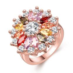Vienna Jewelry Gold Plated Multi-Colored Blossoming Floral Ring - Thumbnail 0