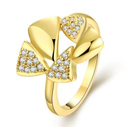 Vienna Jewelry Gold Plated Triangular Crystal Ring - Thumbnail 0