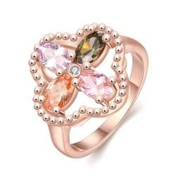 Vienna Jewelry Gold Plated Clover Colored Jewels Ring - Thumbnail 0