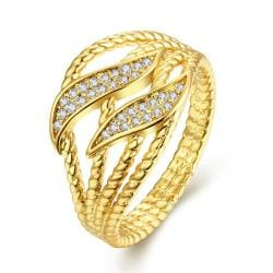 Vienna Jewelry Gold Plated Double Layering Inprints Ring - Thumbnail 0