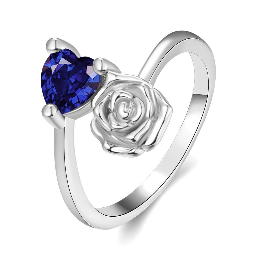 Vienna Jewelry Gold Plated Floral Bud with Gemstone Ring