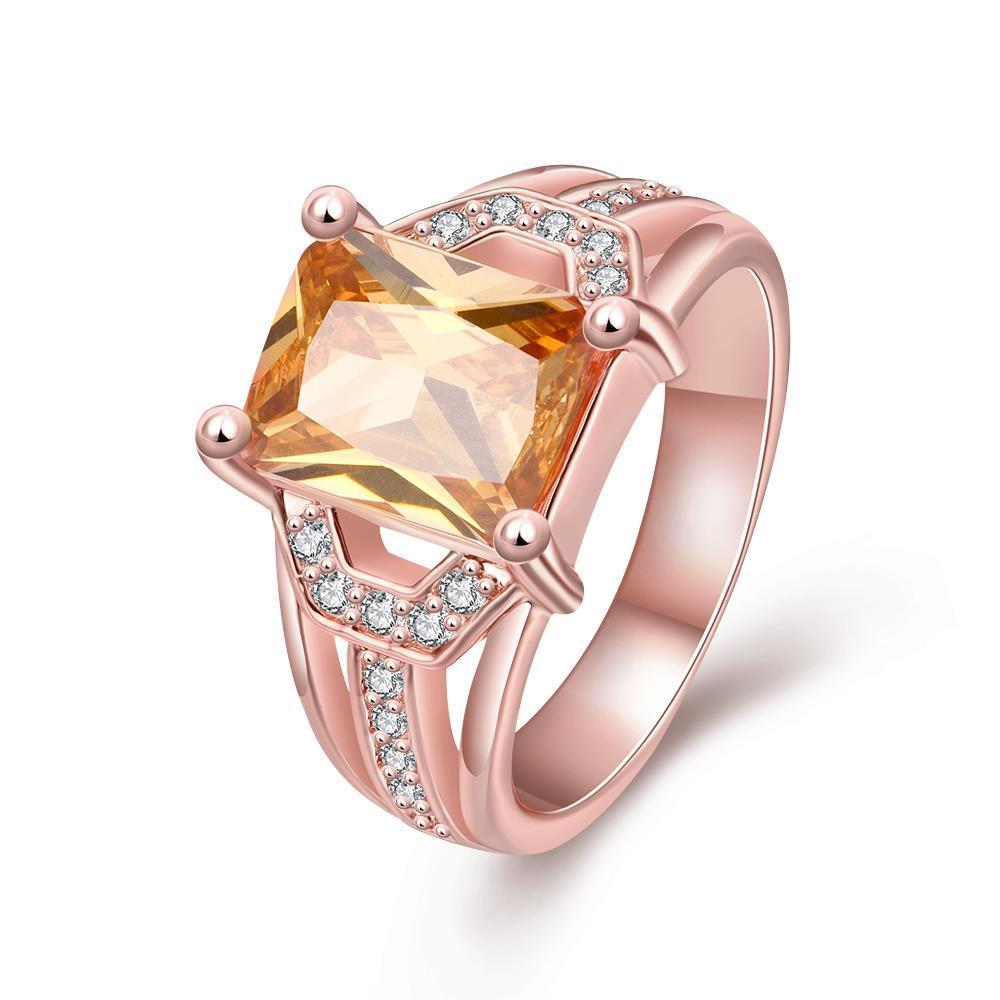 Vienna Jewelry Gold Plated Center Citrine Gem Ring