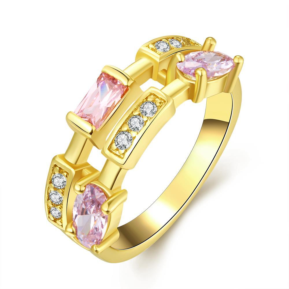 Vienna Jewelry Gold Plated Purple Citrine Infused Abstract Ring