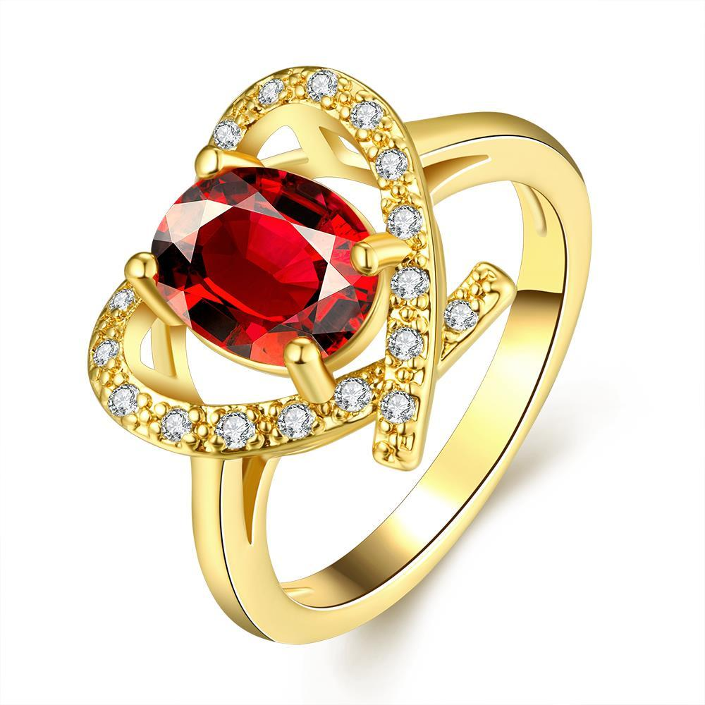 Vienna Jewelry Gold Plated Open Heart with Gemstone Ring