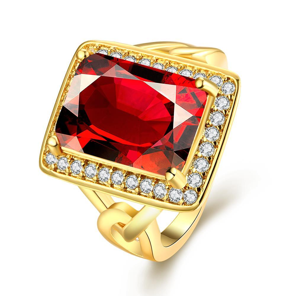 Vienna Jewelry Gold Plated Rectangle Ruby Modern Ring