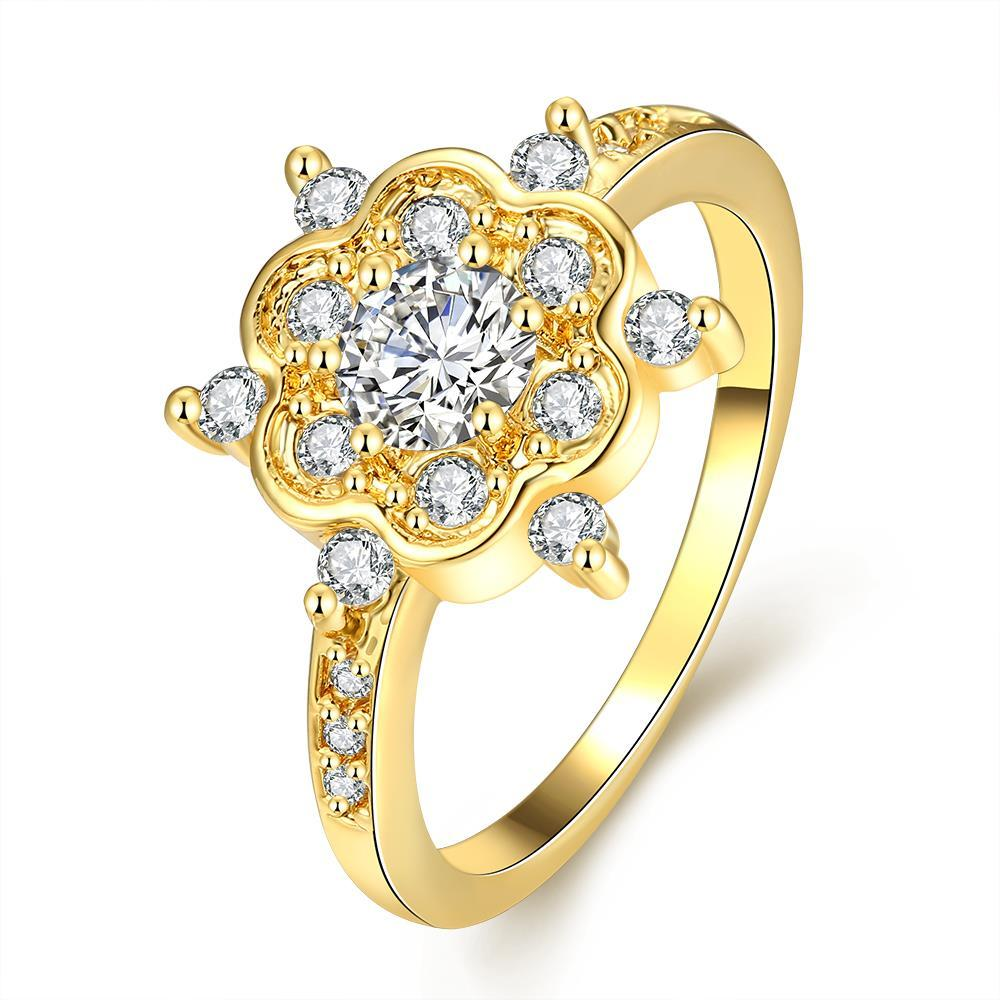 Vienna Jewelry Gold Plated Clover Snowflake with Jewels Ring