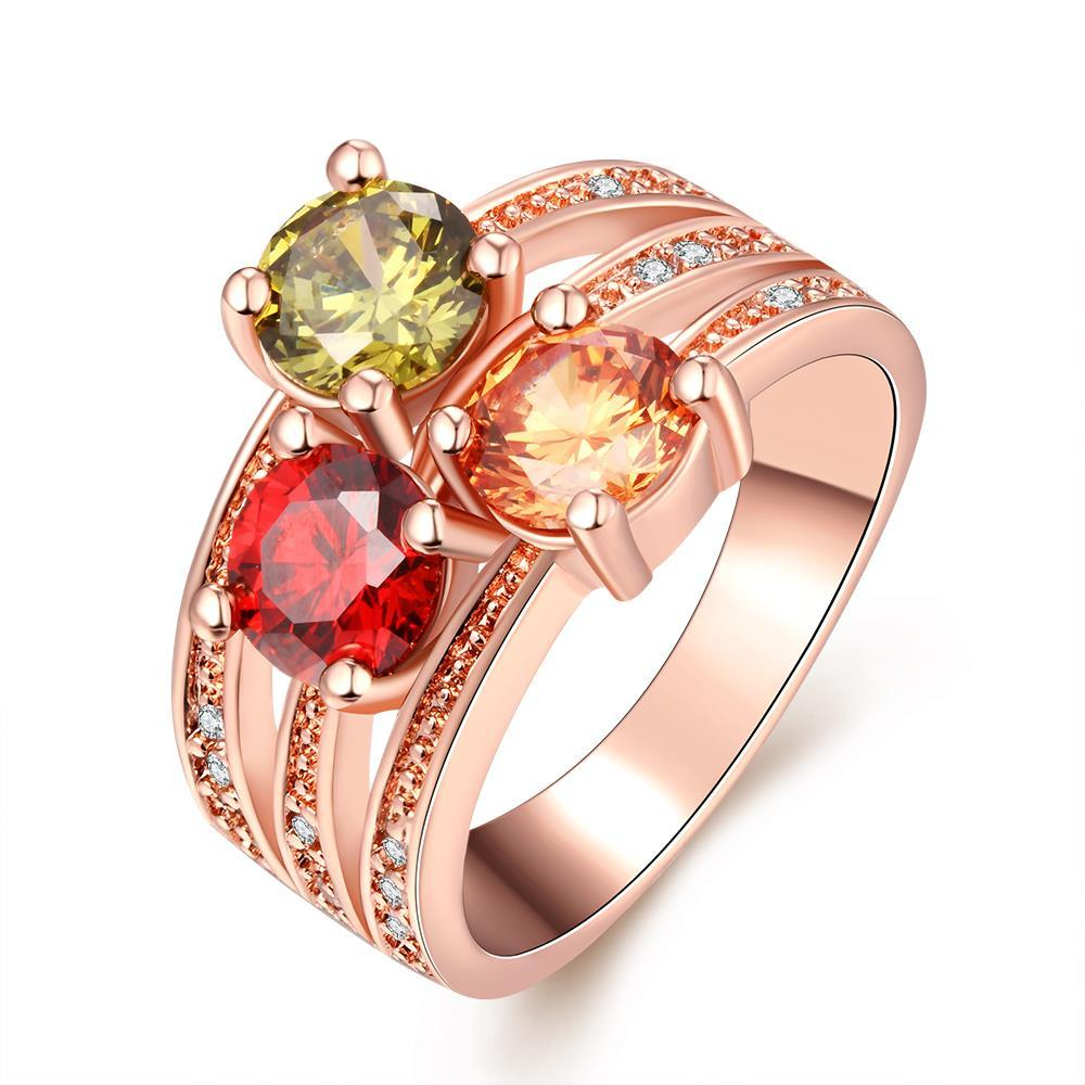 Vienna Jewelry Gold Plate Tri-Colored Jewels Ring