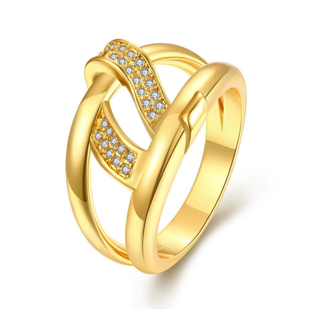 Vienna Jewelry Gold Plated Double Loop Petite Swirl Ring