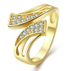 Vienna Jewelry Gold Plated Double Swirl Matrix Ring - Thumbnail 0