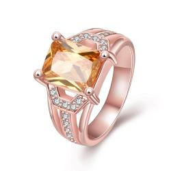 Vienna Jewelry Gold Plated Center Citrine Gem Ring - Thumbnail 0