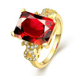 Vienna Jewelry Gold Plated Center Ruby Classic Ring - Thumbnail 0
