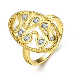 Vienna Jewelry Gold Plated Oval Shaped with Crystal Jewels Ring - Thumbnail 0