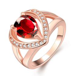 Vienna Jewelry Gold Plated Open-Love with Gemstone Ring - Thumbnail 0
