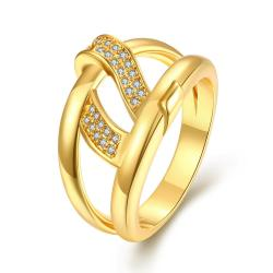 Vienna Jewelry Gold Plated Double Loop Petite Swirl Ring - Thumbnail 0