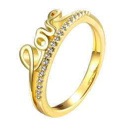 Vienna Jewelry Gold Plated Love Wording Design Ring - Thumbnail 0
