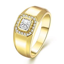Vienna Jewelry Gold Plated Pure Cut Crystal Ring - Thumbnail 0