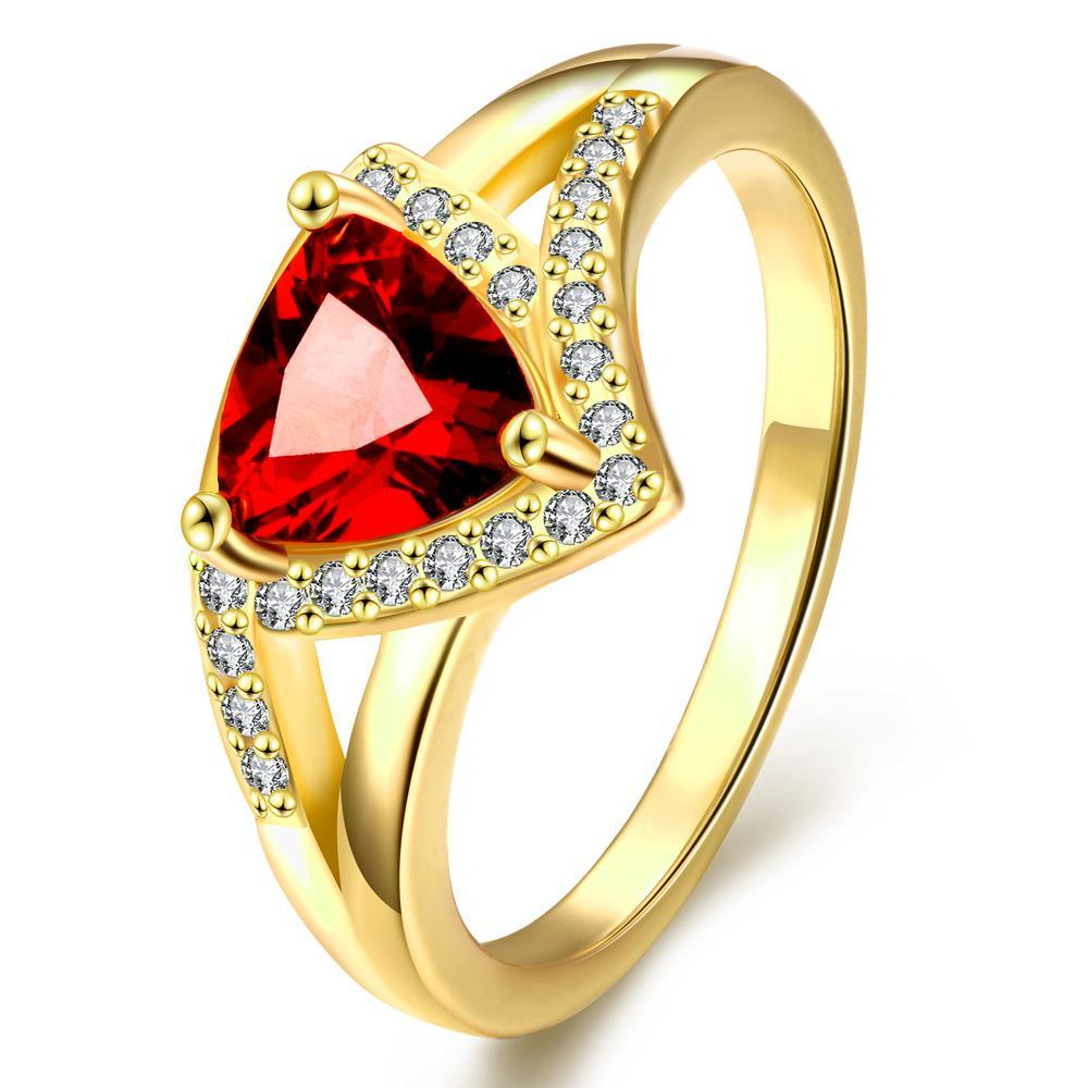 Vienna Jewelry Gold Plated Triangular Natural Gemstone Ring
