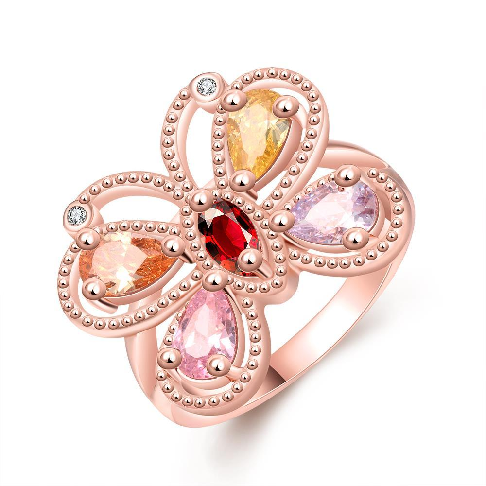 Vienna Jewelry Gold Plated Colorful Butterfly Ring