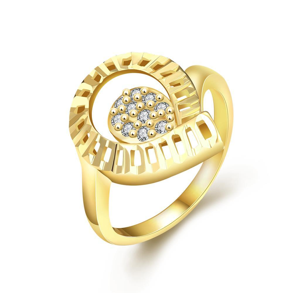 Vienna Jewelry Gold Plated Round of Laser Cut Ring
