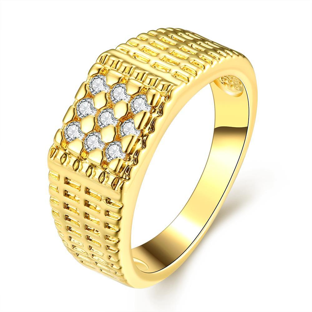 Vienna Jewelry Gold Plated Dotted Beads Crystal Ring