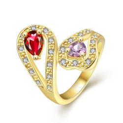 Vienna Jewelry Gold Plated Ruby & Citrine Ring - Thumbnail 0