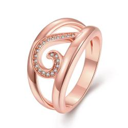 Vienna Jewelry Gold Plated Swirl Lined Modern Twist Ring - Thumbnail 0