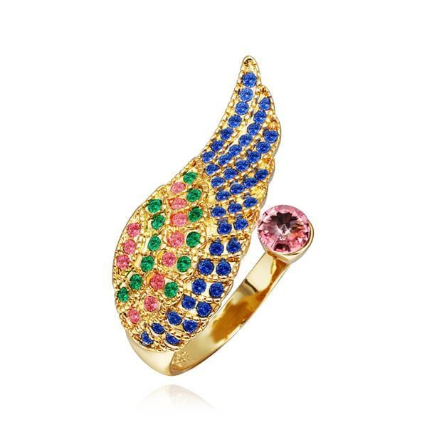 Vienna Jewelry Gold Plated Rainbow Jewels Layering Ring Size 8