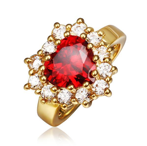 Vienna Jewelry Gold Plated Ruby Red Jewel with Crystal Covering Ring Size 8
