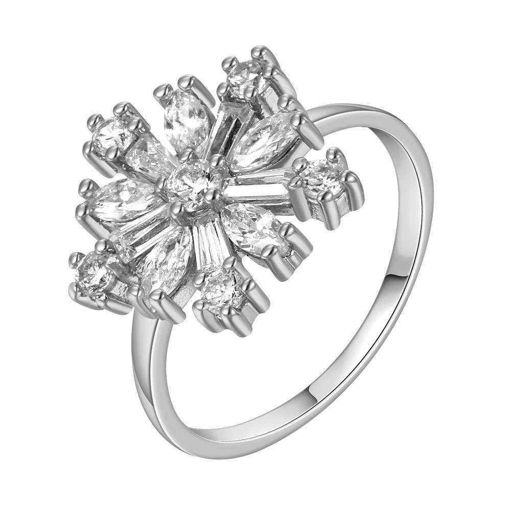Vienna Jewelry White Gold Plated Snowflake Emblem Ring Size 8