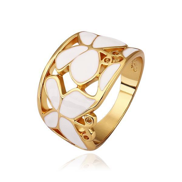 Vienna Jewelry Gold Plated Ivory Layering Laser Cut Ring Size 8