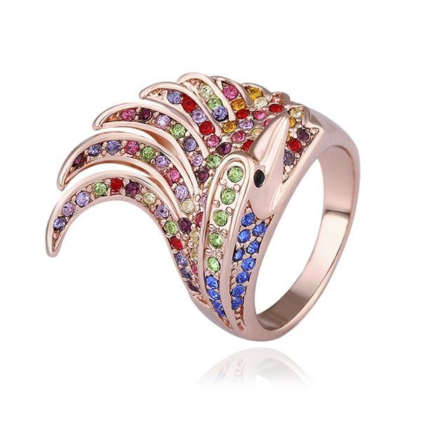 Vienna Jewelry Rose Gold Plated Spiral Curved Rainbow Cocktail Ring Size 8