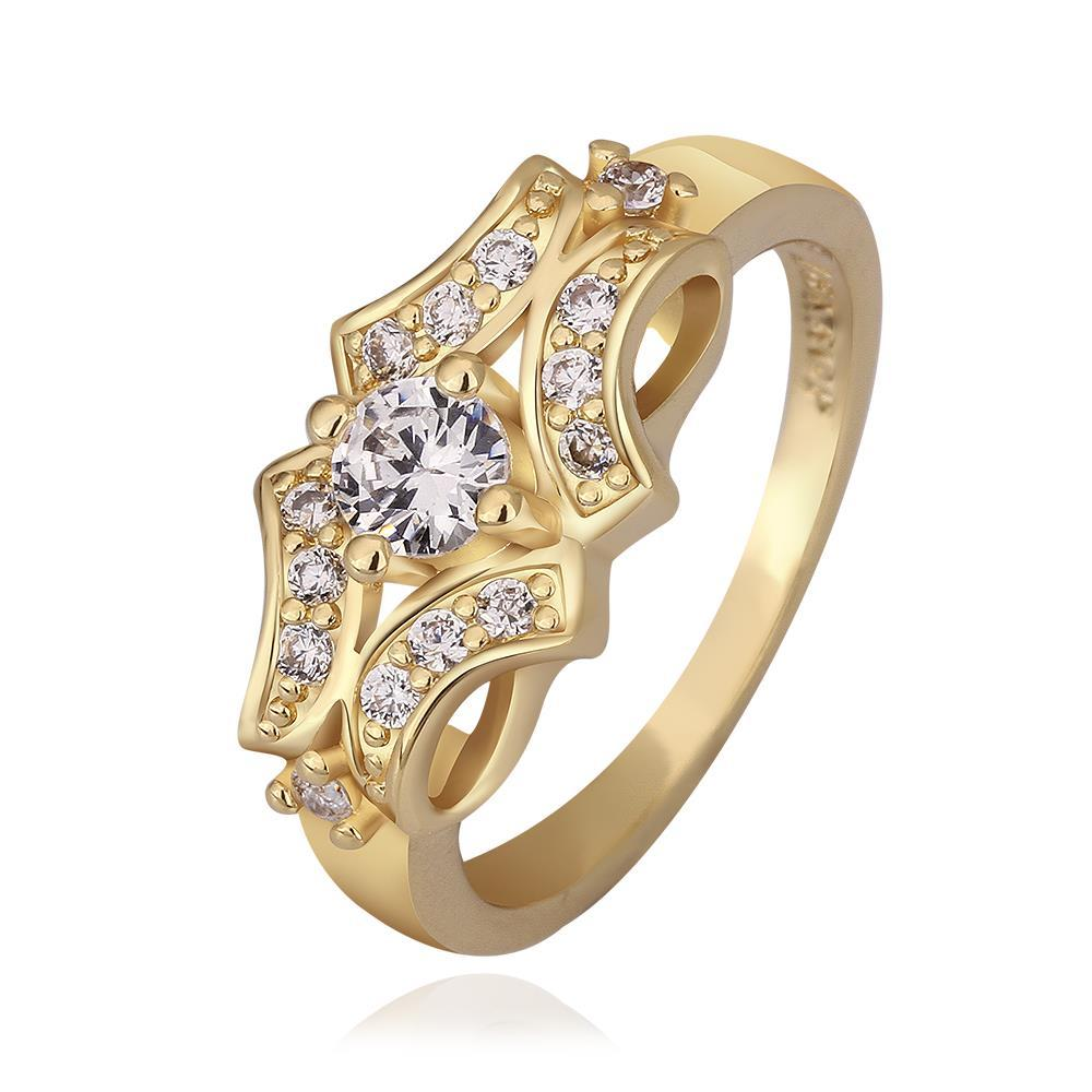 Vienna Jewelry Gold Plated Blossoming Design Ring Size 8