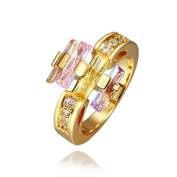 Vienna Jewelry Gold Plated Multi-Colored Linear Ring Size 8