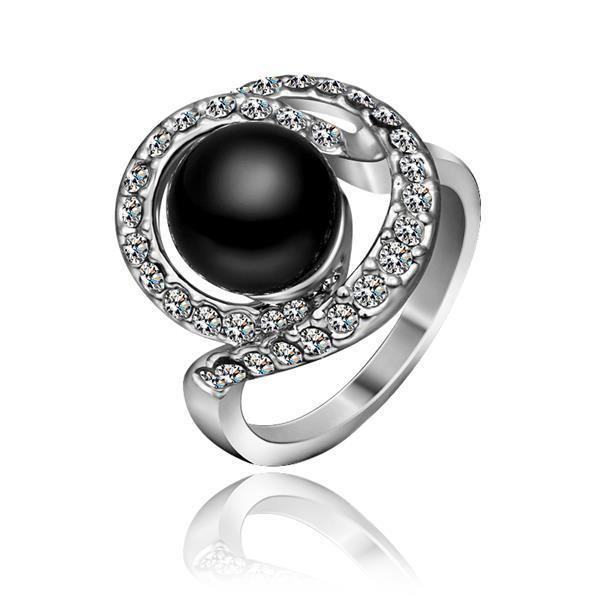 Vienna Jewelry White Gold Plated Swirl Onyx Gem Ring Size 8